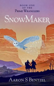 The cover of SnowMaker. A white owl flies past two cowboys holding hands. It leaves a mysterious trail of snowflakes behind it.
